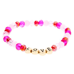 Love Beaded Stretch Bracelet - Pink,