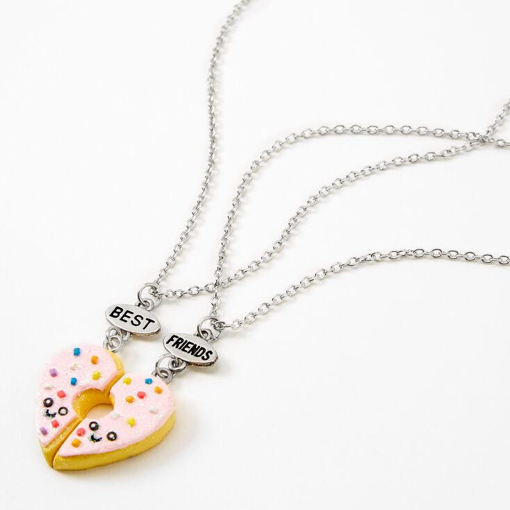 Best Friends Pink Donut Split Heart Pendant Necklaces - 2 Pack,