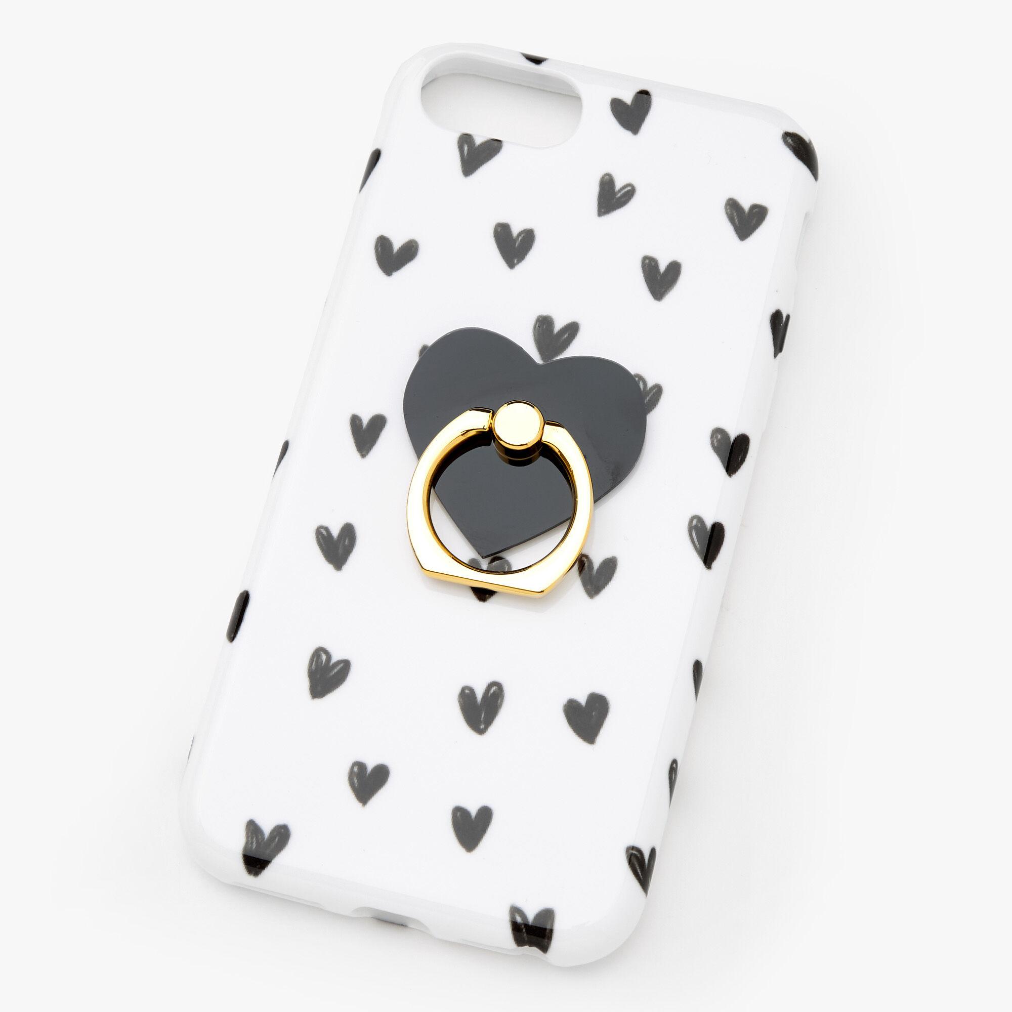Coque de portable avec anneau de support cœurs noirs et blancs - Compatible avec iPhone 6/7/8/SE