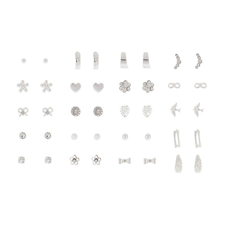 Silver Nature Chic Stud Earring Set - 20 Pack,