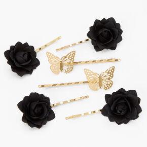 Épingles à cheveux à fleurs et papillons couleur dorée - Noir, lot de 6,