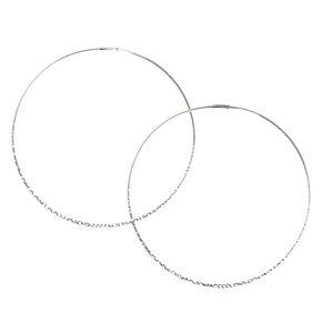 Silver 100MM Hammered Hoop Earrings,