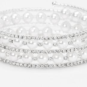 Silver Embellished Pearl Coil Wrap Bracelet,