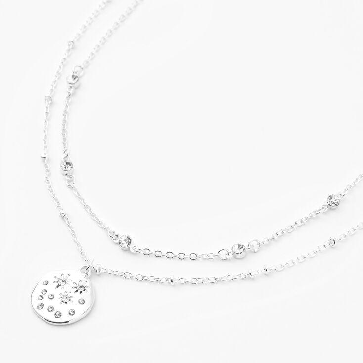Silver Bezel Star Disc Pendant Multi Strand Necklace,