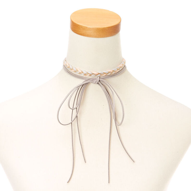 pink soft suede necklace