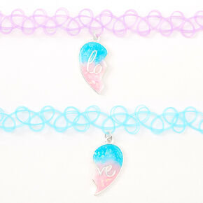 Best Friends Blue & Purple Heart Glow In The Dark Tattoo Choker Necklaces - 2 Pack,