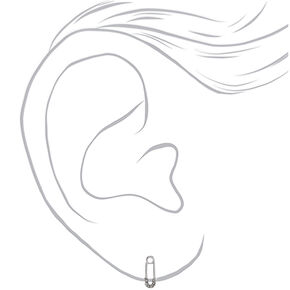 Silver Safety Pin Embellished Stud Earrings,