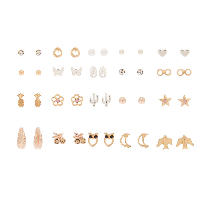 Mixed Metal Favourite Charm Stud Earrings - 20 Pack,