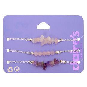 Silver Amethyst Chain Bracelets - Purple, 3 Pack,