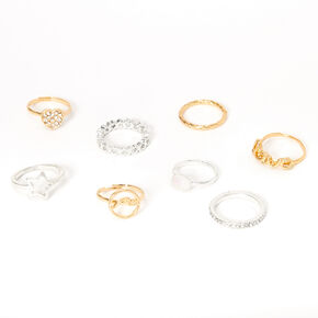 Sky Brown™ Mixed Metal  Rings - 8 Pack,