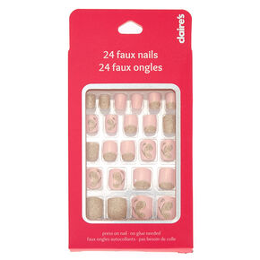 Gold Glitter Erfly Press On Faux Nail Set Pink 24 Pack