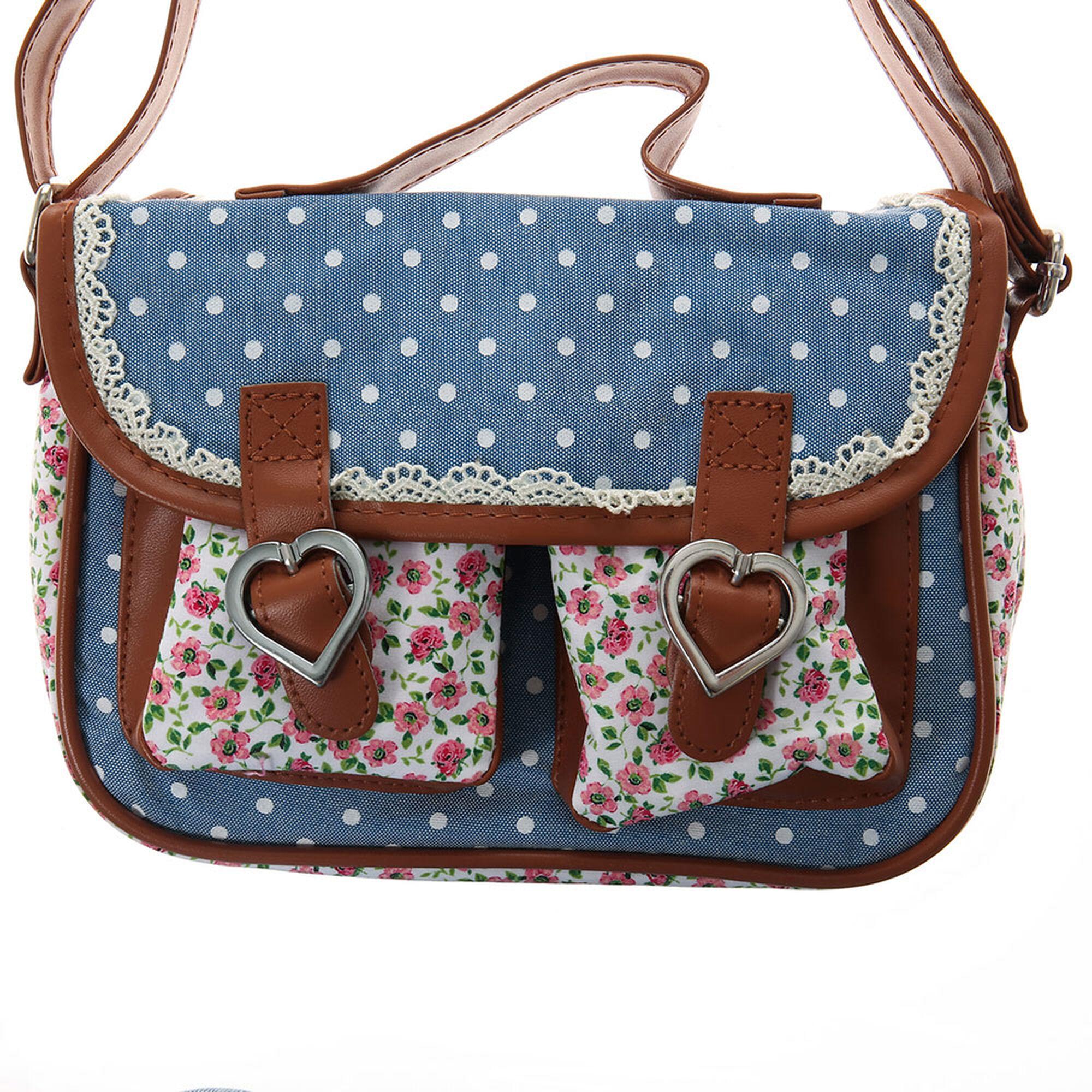 Kids Floral And Polka Dot Blue Crossbody Bag | Claireu0026#39;s