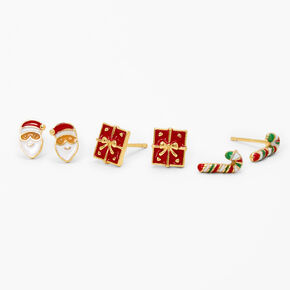 18kt Gold Plated Holiday Stud Earrings - 3 Pack,