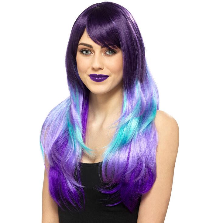 Perruque violette et couleur turquoise,