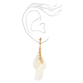 "Gold 3"" Multi Feather Chain Drop Earrings,"