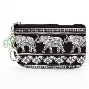 Boho Elephant Coin Purse - Black,
