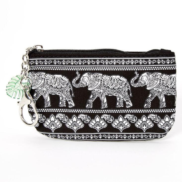Boho Elephant Coin Purse - Black,