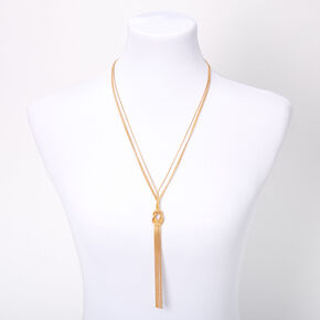 Gold Knotted Snake Chain Long Pendant Necklace,