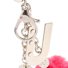 Porte-clés à pompons rose et noir avec initiale «U»,