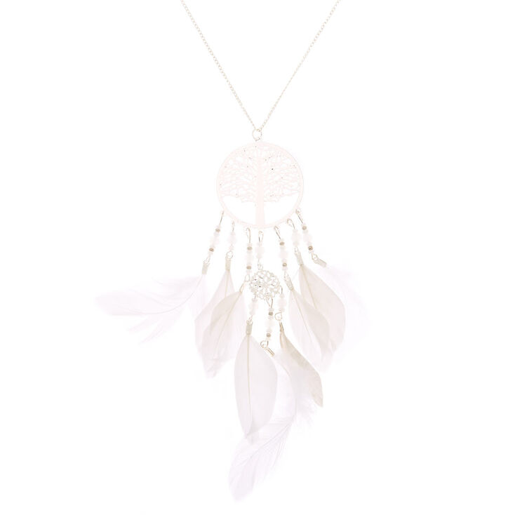 Silver Tree Dreamcatcher Feather Long Pendant Necklace,