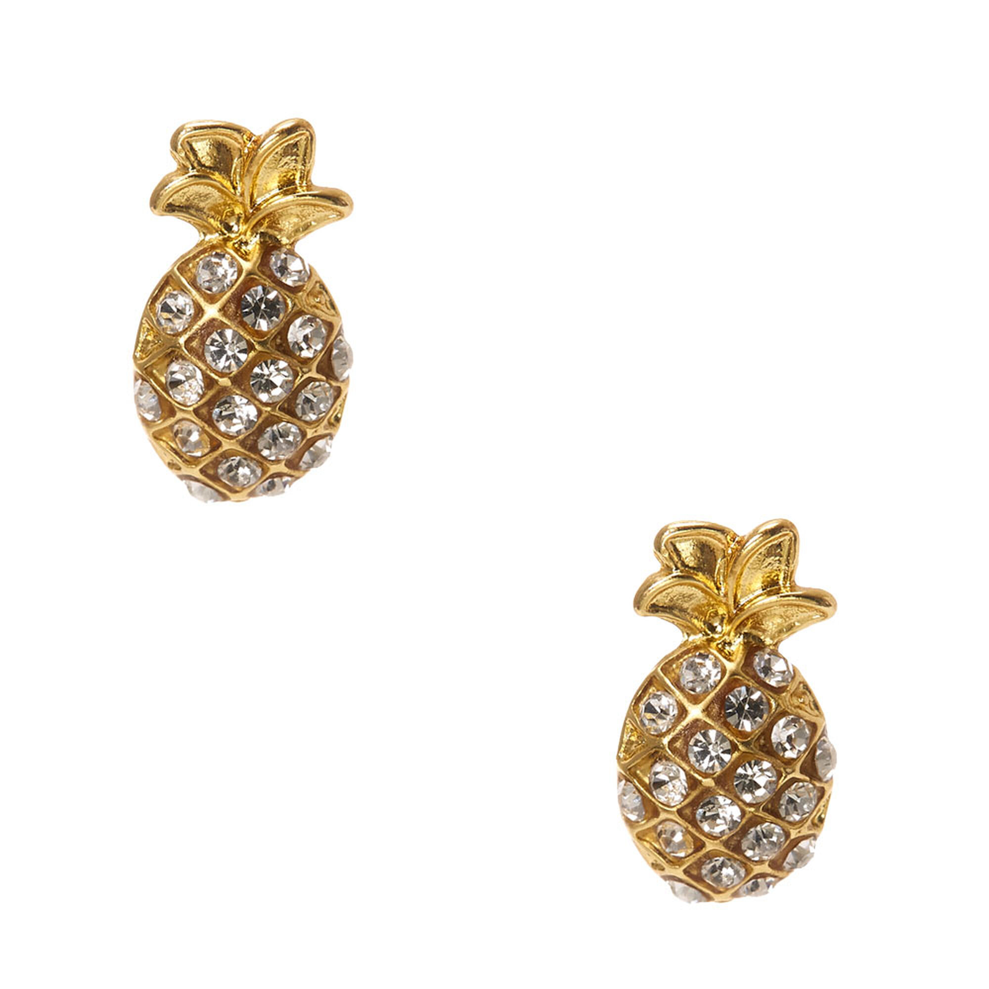 double pineapple rose in products trouble earring gold stud apparel plated