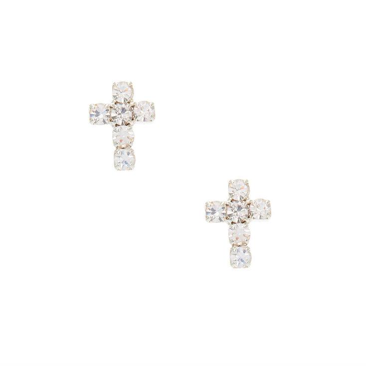 Crystal Cross Stud Earrings,