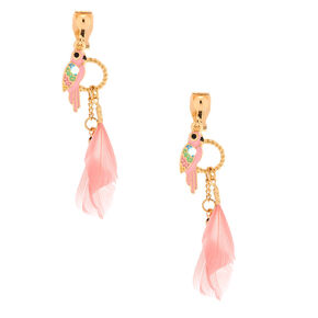 "Gold 2"" Parrot Feather Clip On Drop Earrings - Pink,"
