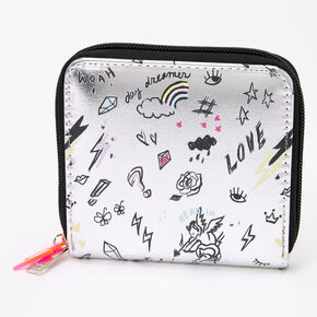 Doodle Print Small Zip Wallet - White,