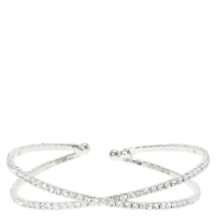 Silver Gl Rhinestone Criss Cross Bracelet