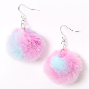 "Silver 2"" Pink, Purple & Blue Pom Pom Drop Earrings,"