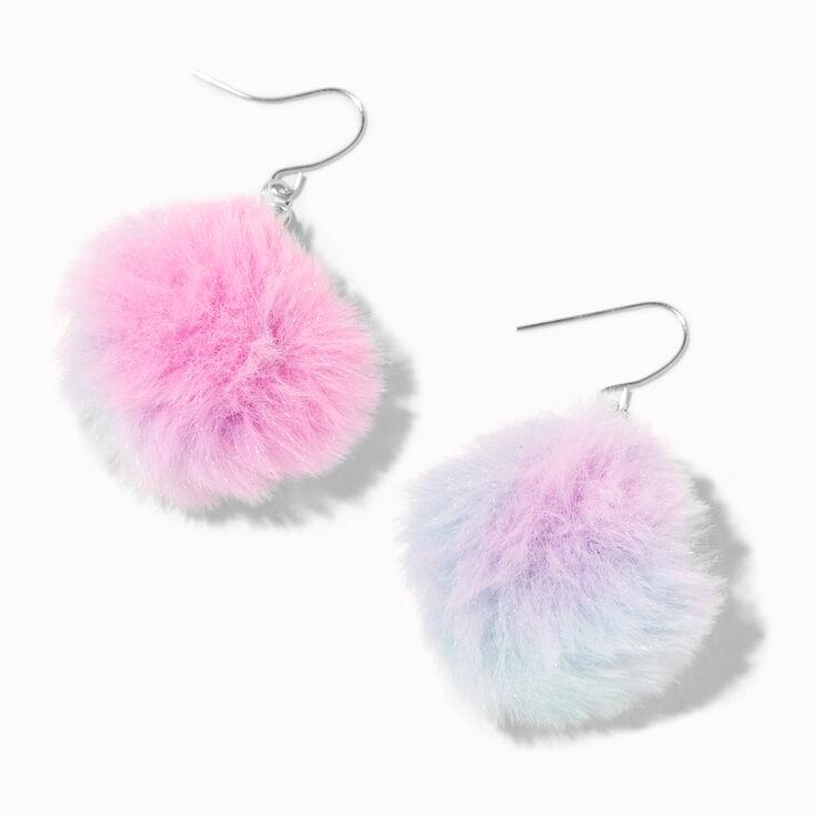 """Silver 2"""" Pink, Purple & Blue Pom Pom Drop Earrings,"""