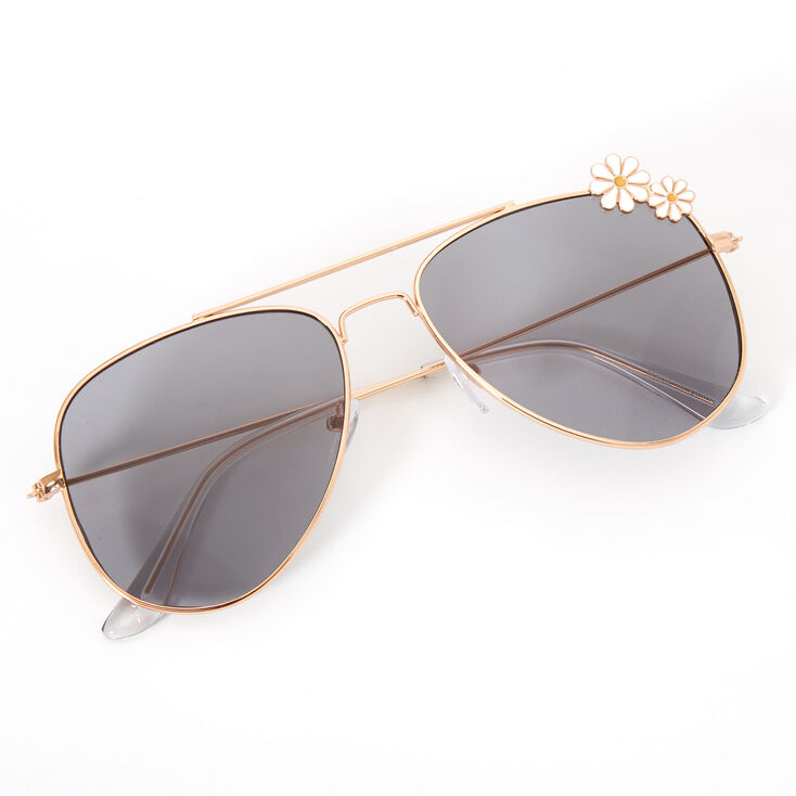 Daisy Embelliished Aviator Sunglasses - Gold,