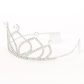 Diadème avec perles d'imitation et strass couleur argentée Claire'sClub,