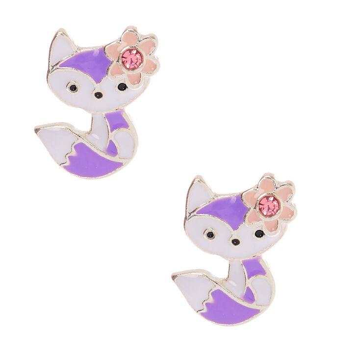 Silver Flower Fox Stud Earrings - Purple,