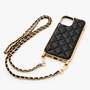 Black Quilted Phone Case with Gold Chain - Fits iPhone 12 Pro Max,