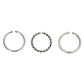 Silver Graduated Sleek Twist Hoop Nose Rings - 3 Pack,