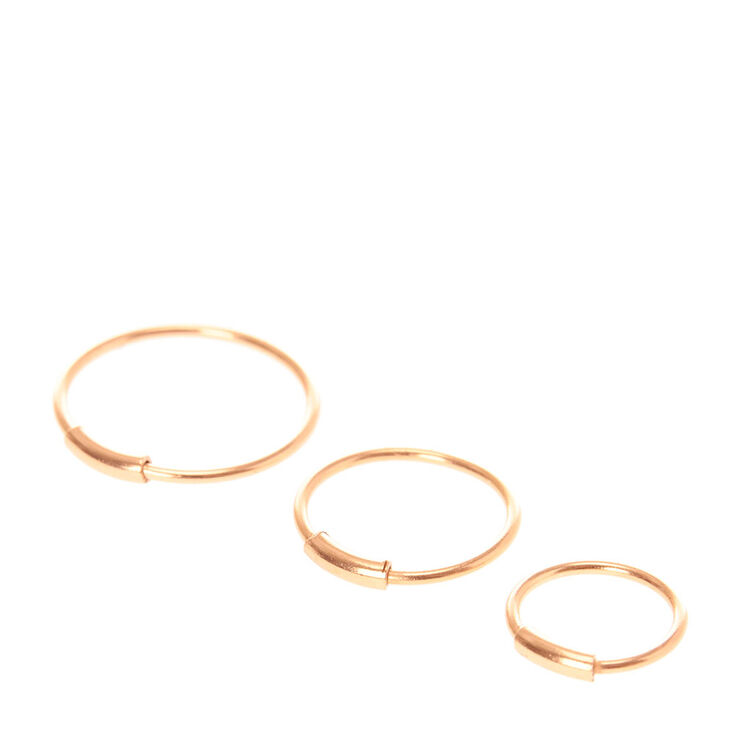 Graduated Rose Gold Hoop Nose Ring Set Claires Us