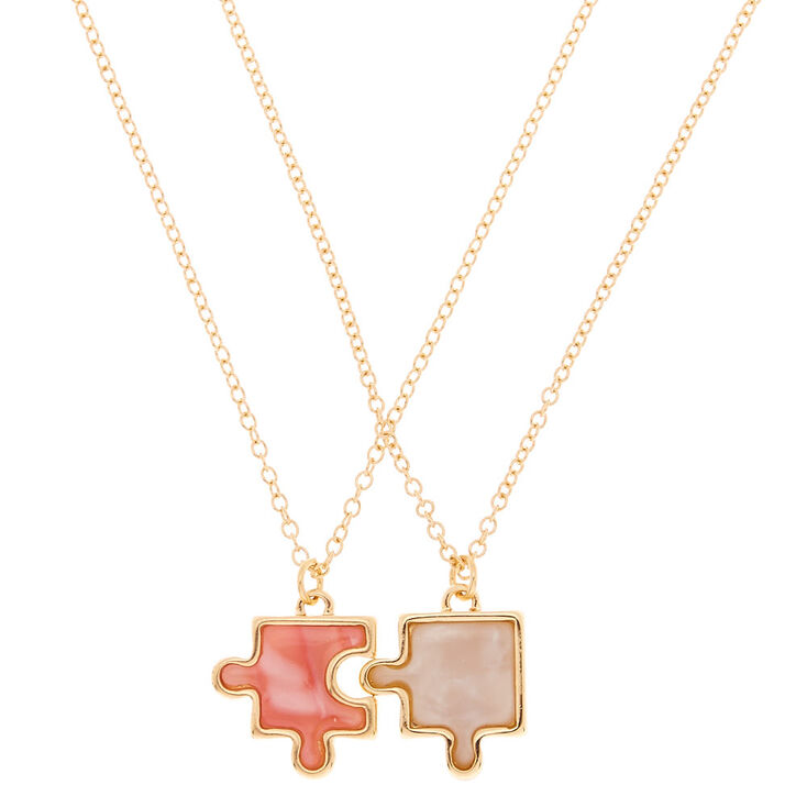 Best Friends Puzzle Piece Pendant Necklaces - 2 Pack,