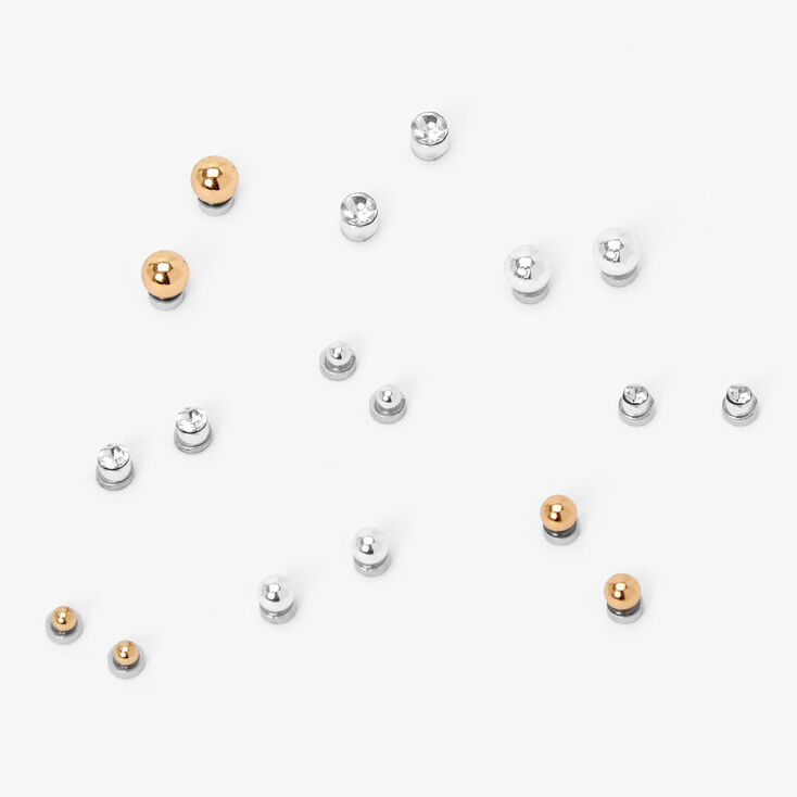 Mixed Metal Bezel Ball Magnetic Stud Earrings - 9 Pack,