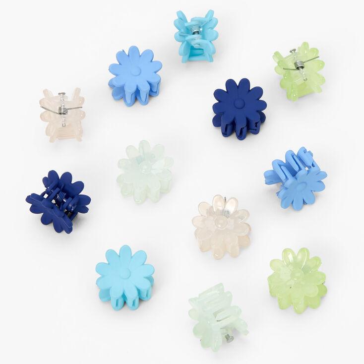 Pastel Daisy Mini Hair Claws - Blue, 12 Pack,