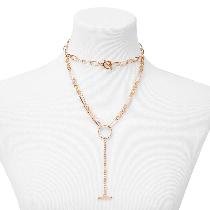 Gold Circle Bar Multi Strand Chain Necklace,