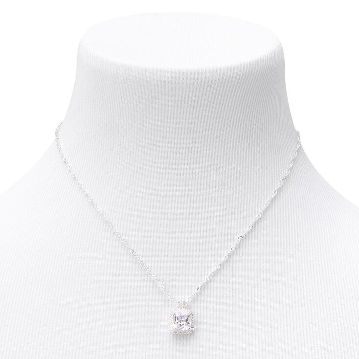 Silver Cubic Zirconia Square Halo Pendant Necklace,
