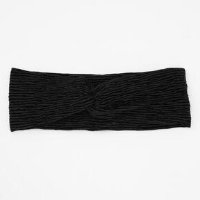 Bandeau torsadé plissé en imitation velours - Noir,