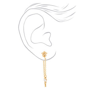 """Gold 1.5"""" Butterfly, Flower & Heart Front and Back Chain Drop Earrings - 3 Pack,"""