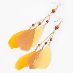 Pendantes perlées en bois d'imitation 15cmcouleur dorée - Jaune,