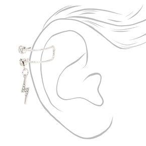 Silver Crystal Lightning Bolt Ear Cuff Earring,