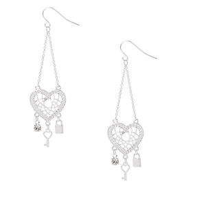 "Silver 2.5"" Heart Dreamcatcher Drop Earrings,"