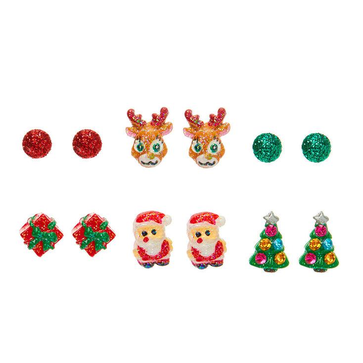 Glitter Christmas Stud Earrings 6 Pack