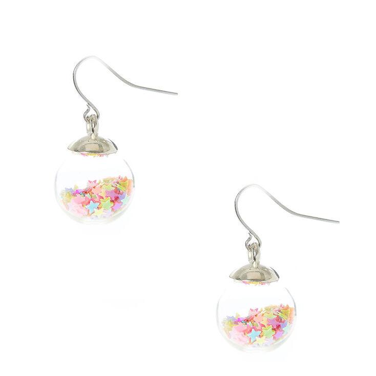 Boucles d'oreilles à boule de confettis étoilés fluo,