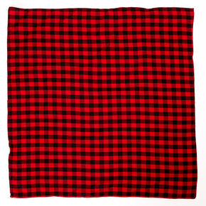 Red & Black Plaid Bandana Headwrap,